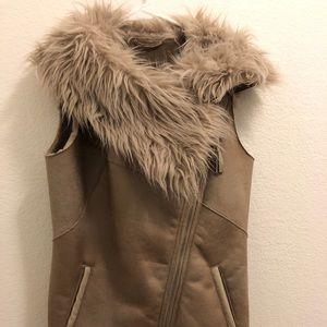 Suede faux fur gilet jacket